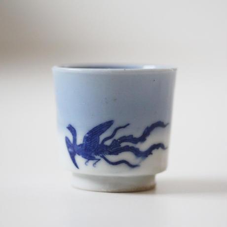 【千代久】印判鳳凰桐文猪口(その1) Inban Polychrome Cup with Printed Design of Phoenix and Paulownia 19thー20th C