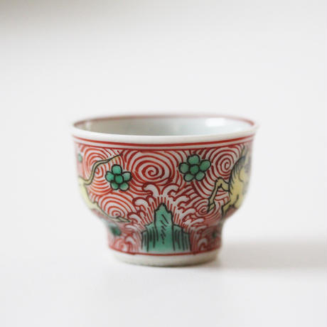 【千代久】九谷色絵天馬文猪口(その4) Kutani Enameled Cup with Heavenly Horses Design 19thー20th C