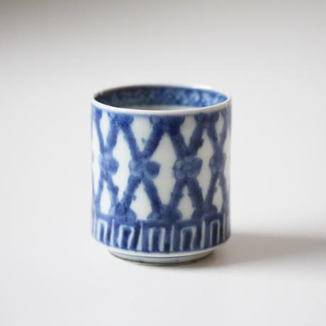 【千代久】古伊万里染付竹梅文のぞき猪口(その3)Imari Blue and White Cup with Design of Bamboos and Plum Blossoms 18th C