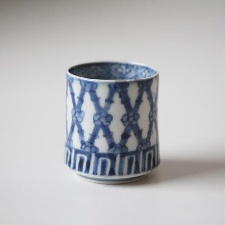 【千代久】古伊万里染付竹梅文のぞき猪口(その5)Imari Blue and White Cup with Design of Bamboos and Plum Blossoms 18th C