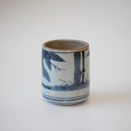 【季節のうつわ】古伊万里染付竹文筒形容器 6.3cm Imari Blue and White Cup with Bamboos Design 18th-19th C