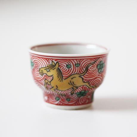 【千代久】九谷色絵天馬文猪口(その8) Kutani Enameled Cup with Heavenly Horses Design 19thー20th C