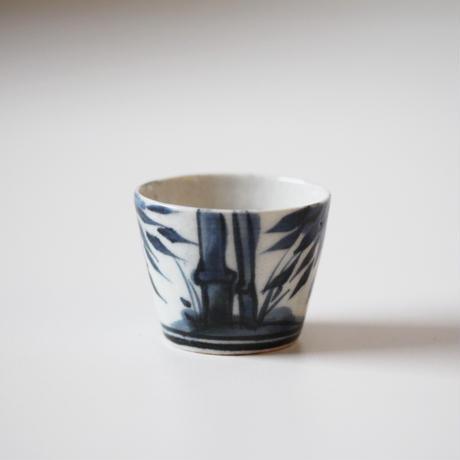 【季節のうつわ】古伊万里染付竹文小猪口(その1)4.8cm Imari Blue and White Small Cup with Bamboo Design 18th C