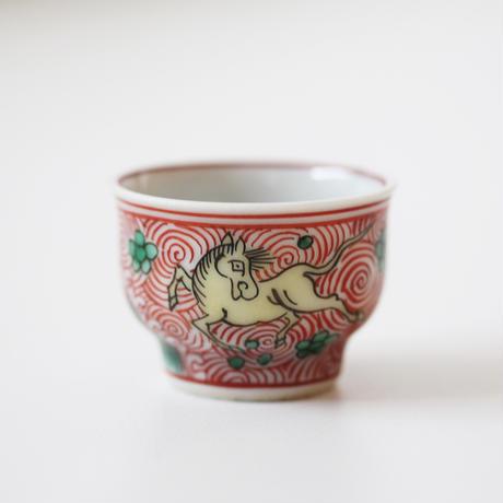 【千代久】九谷色絵天馬文猪口(その5) Kutani Enameled Cup with Heavenly Horses Design 19thー20th C