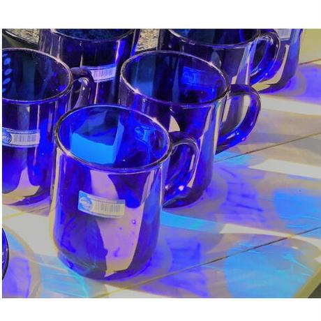サファイアブルー 耐熱ガラス  マグカップ