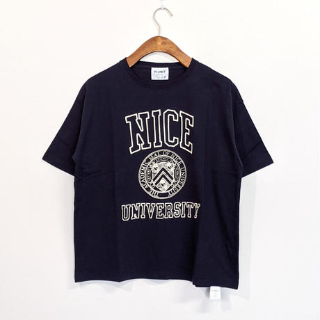 H.UNIT / Nice college print tee ( NAVY )