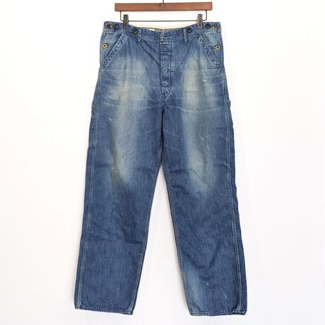H.UNIT / Side open denim painter pants ( Real wash )