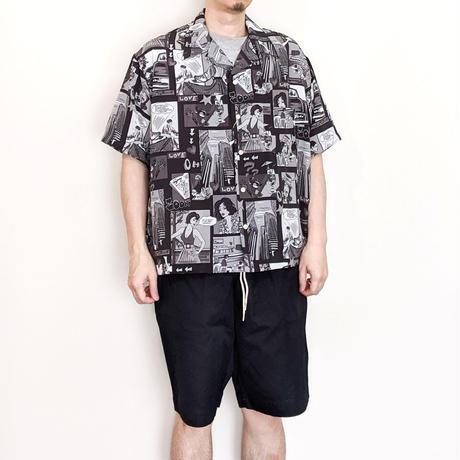 H.UNIT / Amecomi print opencollar short sleeves shirt