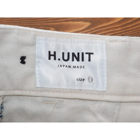 H.UNIT / Hickory denim crown size  tuck trousers