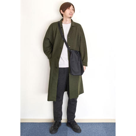 H.UNIT / Boiled wool cut off raglan long atelier coat