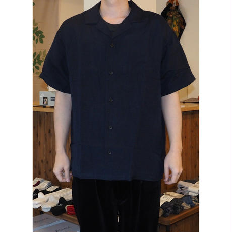 FEW FABRICS / WASHED LINEN WIDE OPEN COLLAR SHIRT
