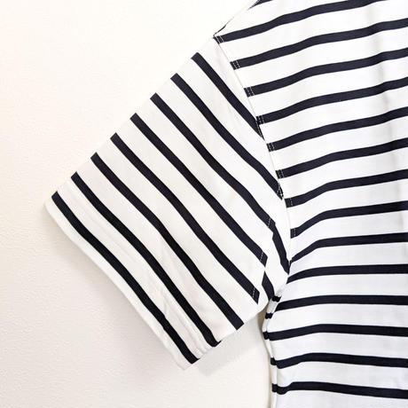 LA MOND / PERU COTTON BORDER T-shirt ( WHITE )