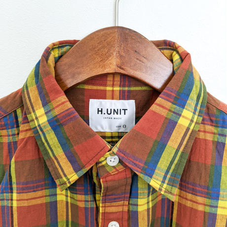 H.UNIT / Madras check  work short sleeves shirt