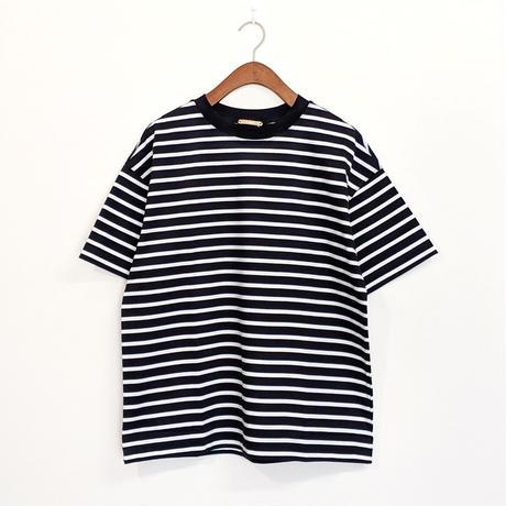 LA MOND / PERU COTTON BORDER T-shirt ( NAVY )