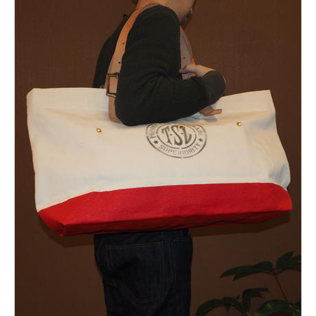THE SUPERIOR LABOR / engineer tote bag L (Natural/Red)