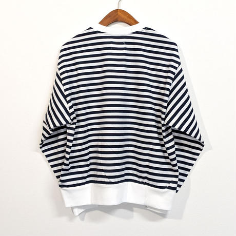H.UNIT / Border jersey stitch wide long sleeves T shirt