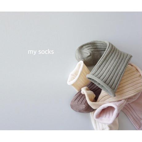 ソックス くすみカラー 韓国子供服 My Socks (5足セット)