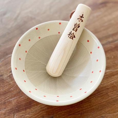 4.5号すり鉢 水玉_レッド