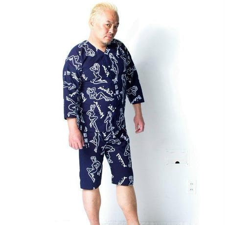オネーチャンの鯉口シャツ・紺