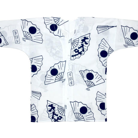 日の丸扇の鯉口シャツ・白