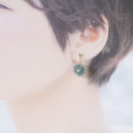 14kgf Mizore earrings Teel Green