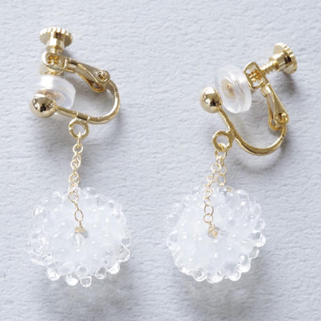 14kgf Mizore earrings Jade White