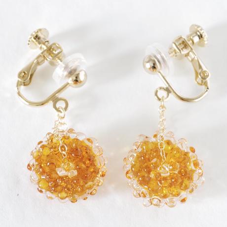 14kgf Mizore earrings Amber
