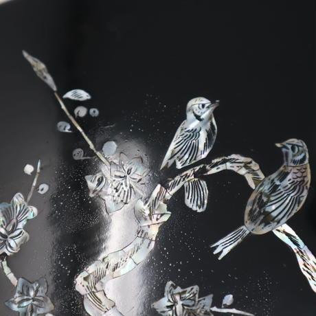 A011【道具箱】漆芸螺鈿 花鳥 硯箱 書道具箱 文箱