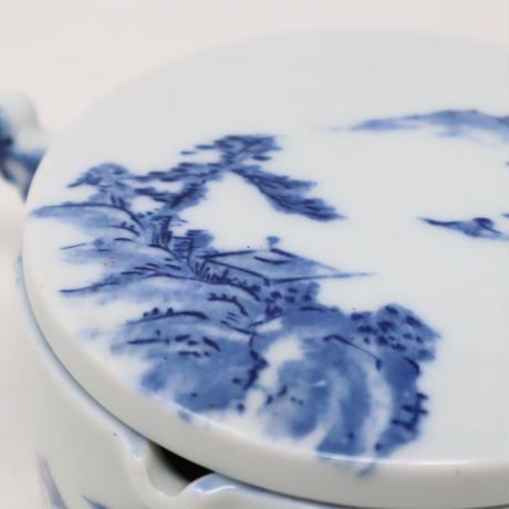 A012【墨池】染付 山水画 水墨