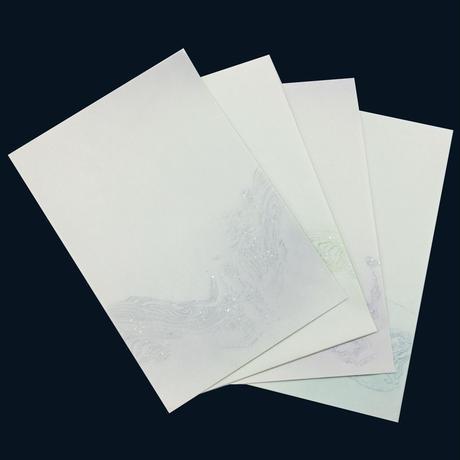 半懐紙 墨流し (4色20枚入)