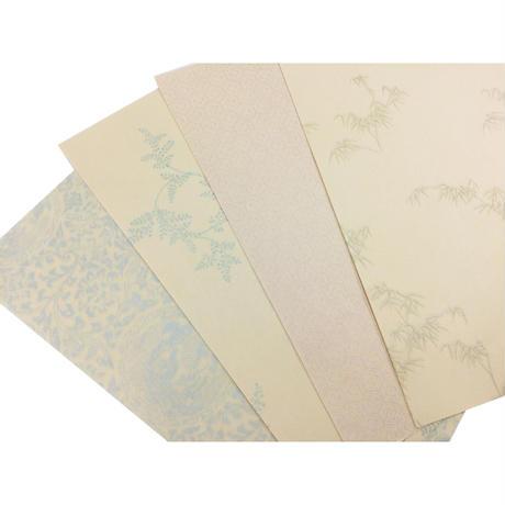 【限定】半懐紙 ぎぼうし からかみ紋様 パールどり(4柄20枚入)