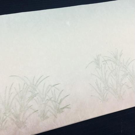 【現品限り】30×90㎝ 本楮紙 吉祥草紋様上下ぼかし 3枚入