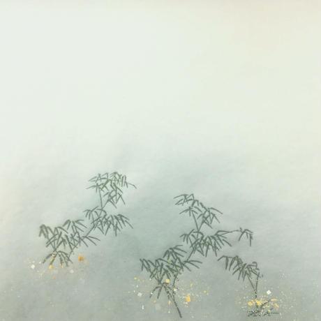 30×100㎝ 新鳥の子 裾ぼかし竹林紋様切箔砂子 1枚売り