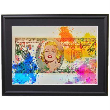 【A4サイズ】100 Dollars Marilyn Monroe  ポスターフレームセット