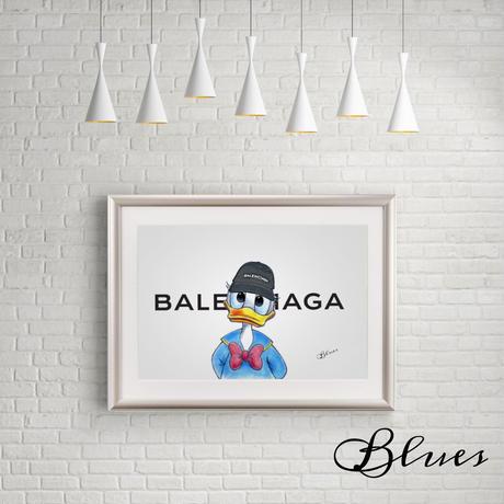 ドナルドダック バレンシアガ キャップ_A4サイズ『Blues』