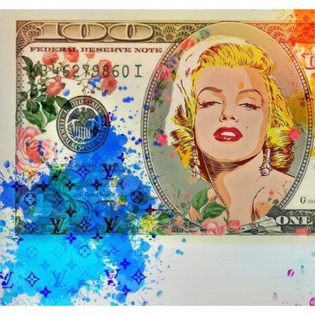 マリリンモンロー ヴィトン ドル札 キャンバス_P10P20サイズ『Blues』