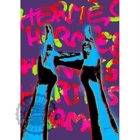 キャンバス 410×273×D20mm 【 sign language H 】