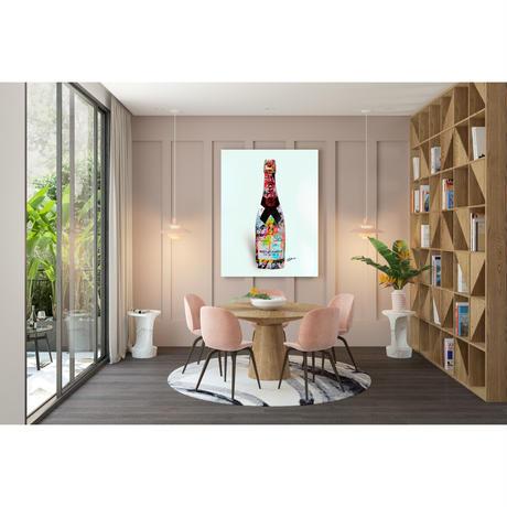 モエシャンドン シャンパン コラージュアート キャンバス_A2A1サイズ『Blues』