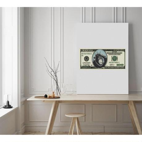 new $100 モンキー 猿 コラージュアート 現代アート キャンバス_A2A1サイズ『Blues』