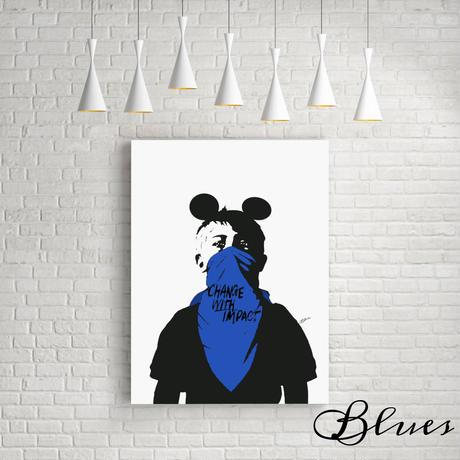 ドルク ミッキー ストリート★オマージュアート現代アート キャンバス_A2A1サイズ『Blues』