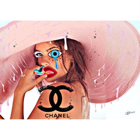 ピンク麦わら帽子 シャネル ビーチガール 高級マットパネル_A2A1サイズ『Blues』
