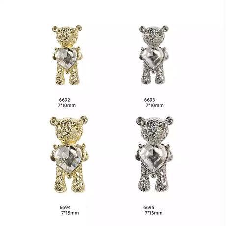 7×10ミリ 熊さん🐻ネイル【シルバー】