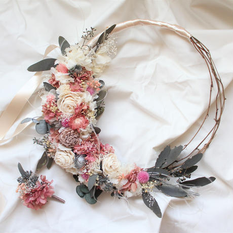 wreath bouquet boutonniere set