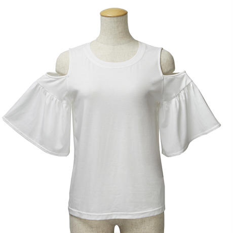 肩あき袖フリルカットソー(ホワイト)