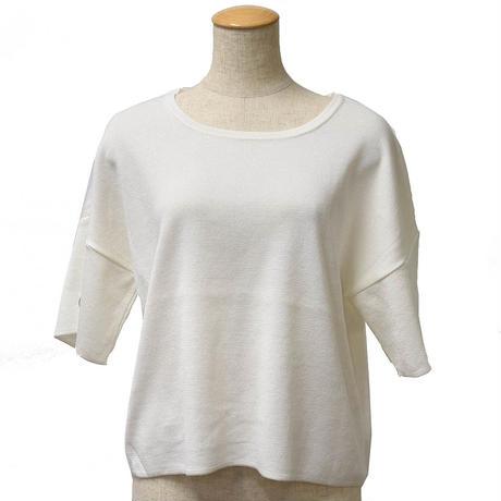 ハトメリボン袖ニットプルオーバー(ホワイト)
