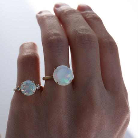 OPAL WITH ROSE CUT DIAMOND RING