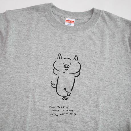 ぶたのTシャツ(Mサイズ・ミックスグレー)