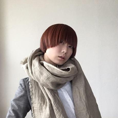 【数量限定】冬用ヘリンボーン育てるリネンストール ハーフ(グレージュ)