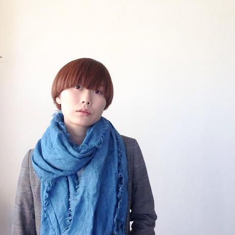 【あおもり藍コラボ】育てるリネンストール ハーフ 空色