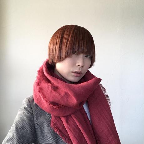 【数量限定】冬用 ヘリンボーン育てるリネンストール ハーフ(赤)